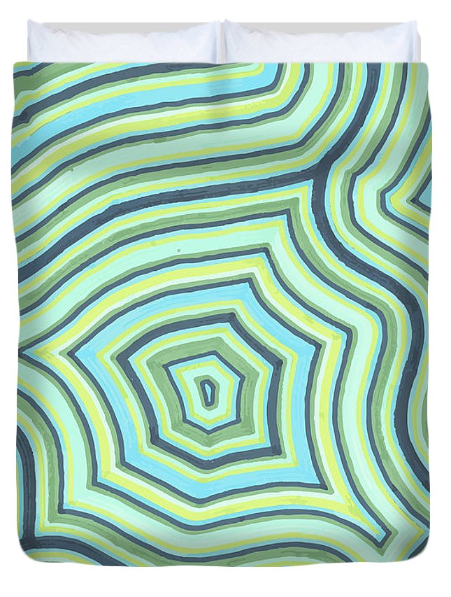 Abstract Duvet Cover featuring the drawing Blue Green Pattern Play by Jill Lenzmeier