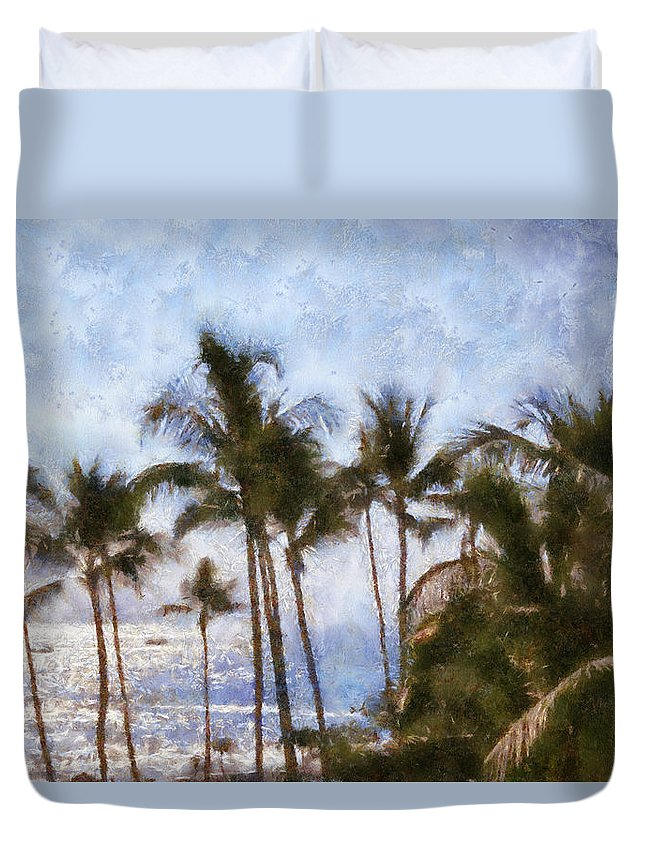 Blue Duvet Cover featuring the painting Blue Hawaii by Paulette B Wright