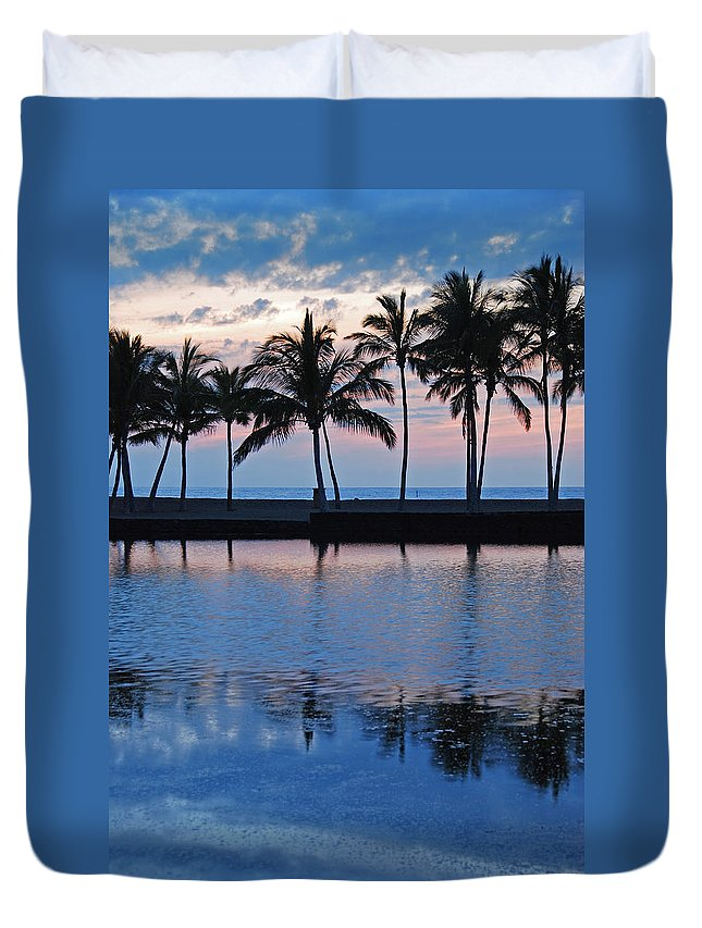 Anaehoomalu Bay Blue Hawaiian Kona Hawaii Palm Trees Landscape Photography Canvas Colors Beach Sunset Silhouette Duvet Cover featuring the photograph Blue Hawaiian by Kelly Wade