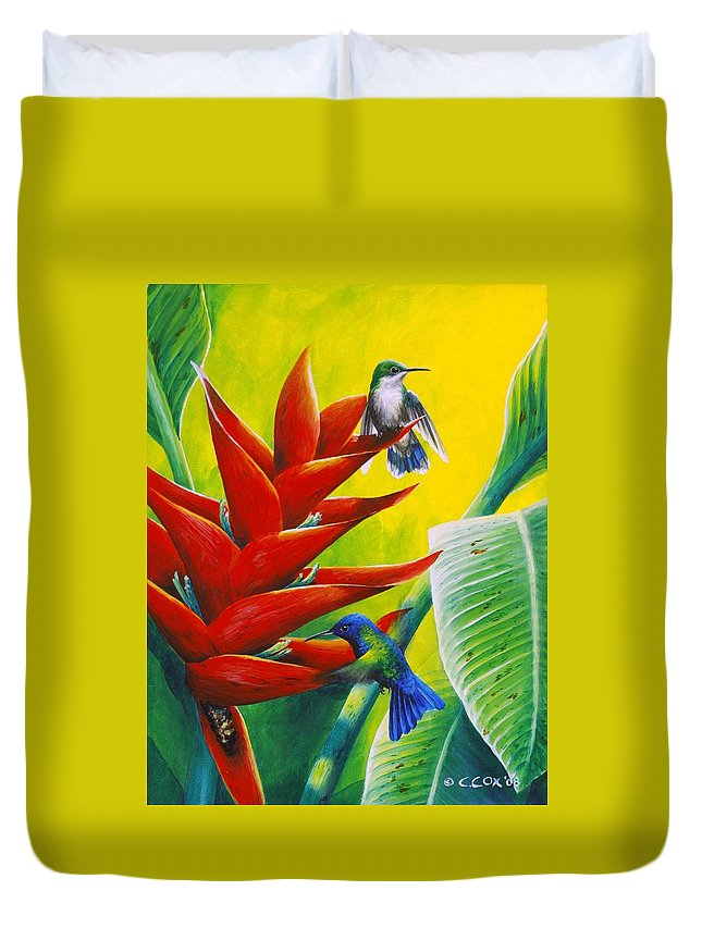 Chris Cox Duvet Cover featuring the painting Blue-headed Hummingbirds And Heliconia by Christopher Cox