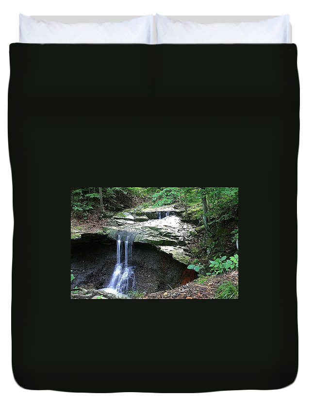 Waterfall. Water Duvet Cover featuring the photograph Blue Hen Falls by Nelson Strong