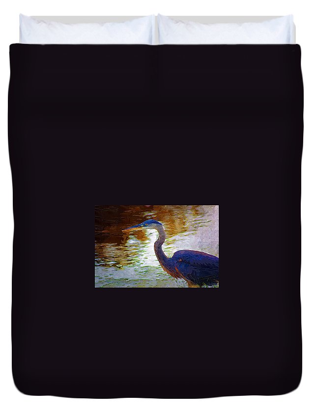 Blue Heron Duvet Cover featuring the photograph Blue Heron 2 by Donna Bentley