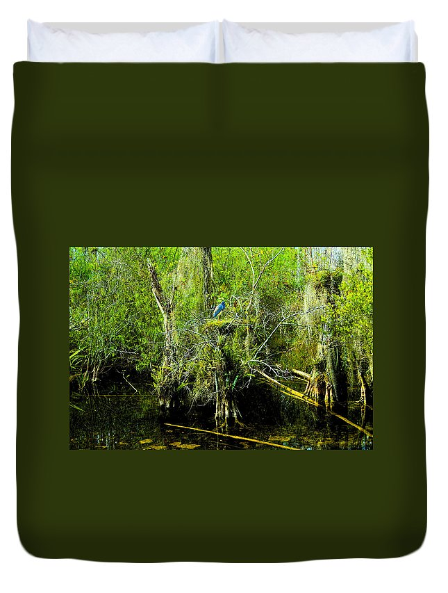 Art Duvet Cover featuring the painting Blue Heron by David Lee Thompson