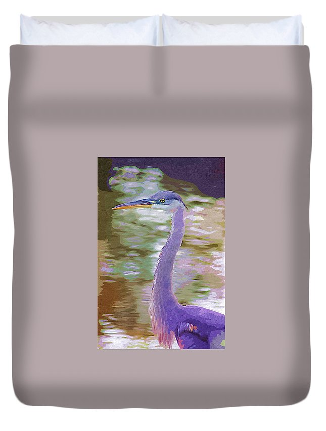 Ponds Duvet Cover featuring the photograph Blue Heron by Donna Bentley