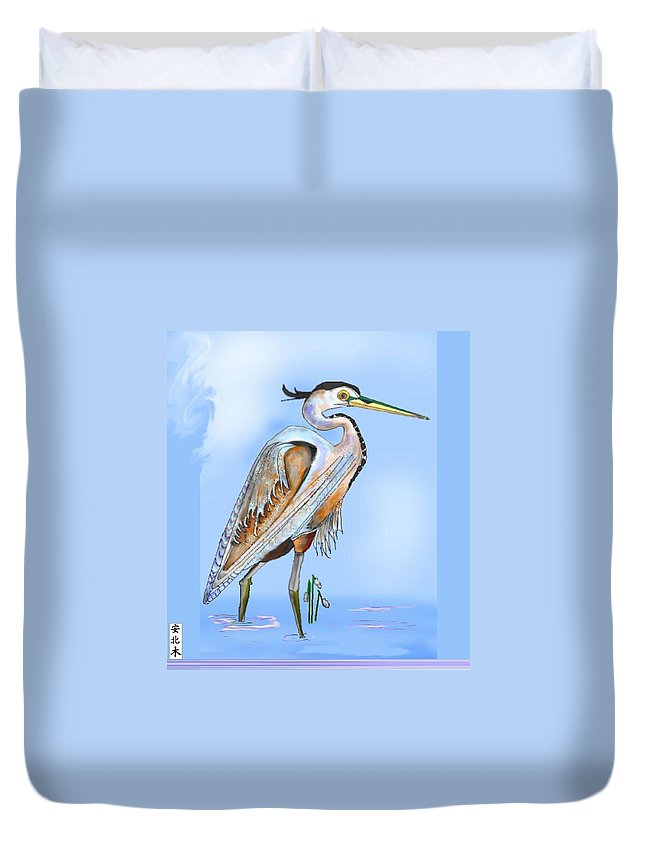 Blue Heron Duvet Cover featuring the painting Blue Heron In The Mist by Anne Norskog