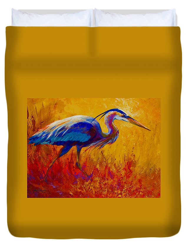 Heron Duvet Cover featuring the painting Blue Heron by Marion Rose