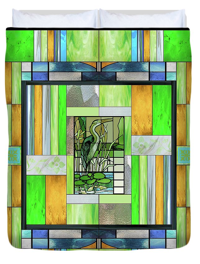 Blue Heron Duvet Cover featuring the mixed media Blue Heron Stained Glass by Ellen Henneke