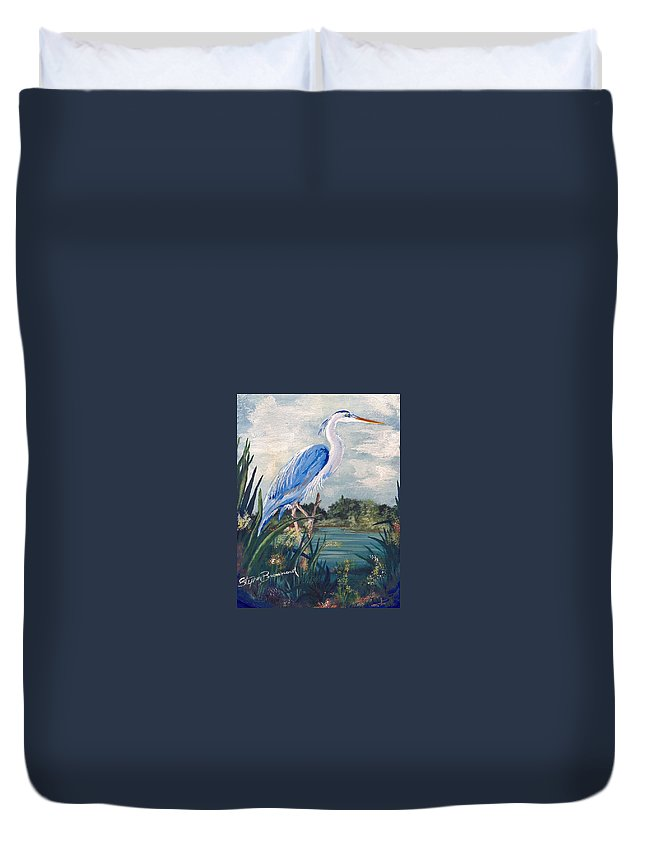 Egret Duvet Cover featuring the painting Blue Heron by Stephen Broussard