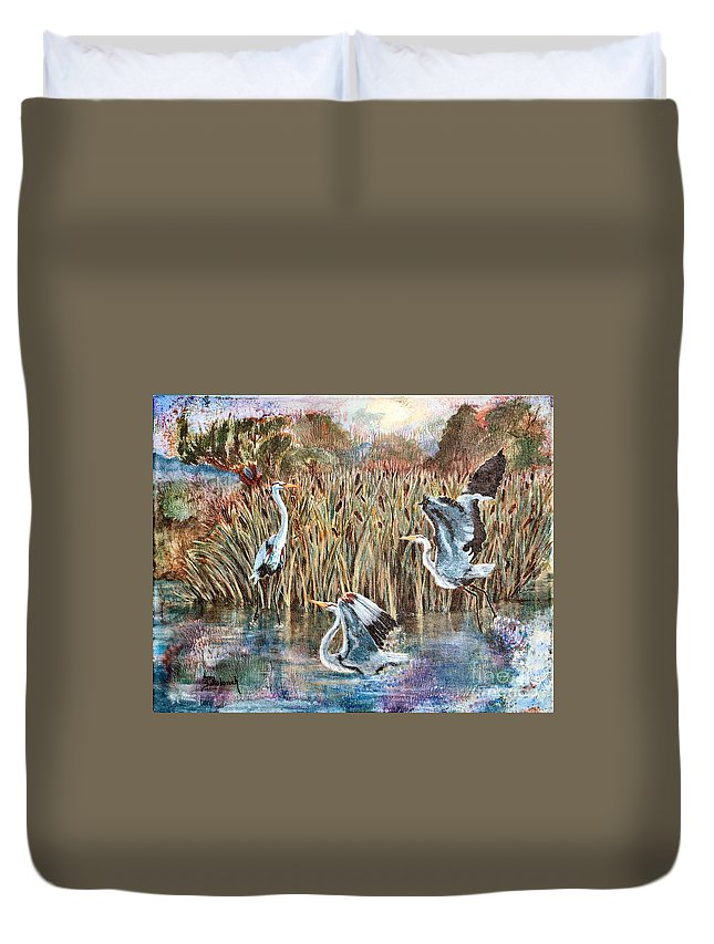 Sokolovich Duvet Cover featuring the painting Blue Herons And Cats by Ann Sokolovich