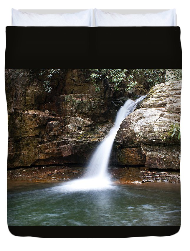 Waterfall Duvet Cover featuring the photograph Blue Hole In Spring #1 by Jeff Severson