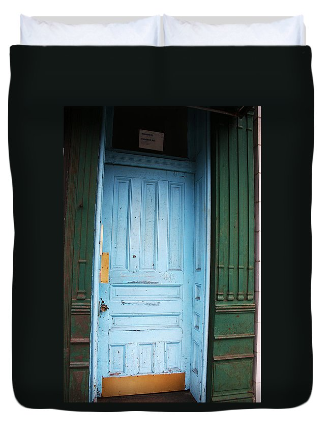 Blue Door Duvet Cover featuring the photograph Blue Home by Jamie Lynn