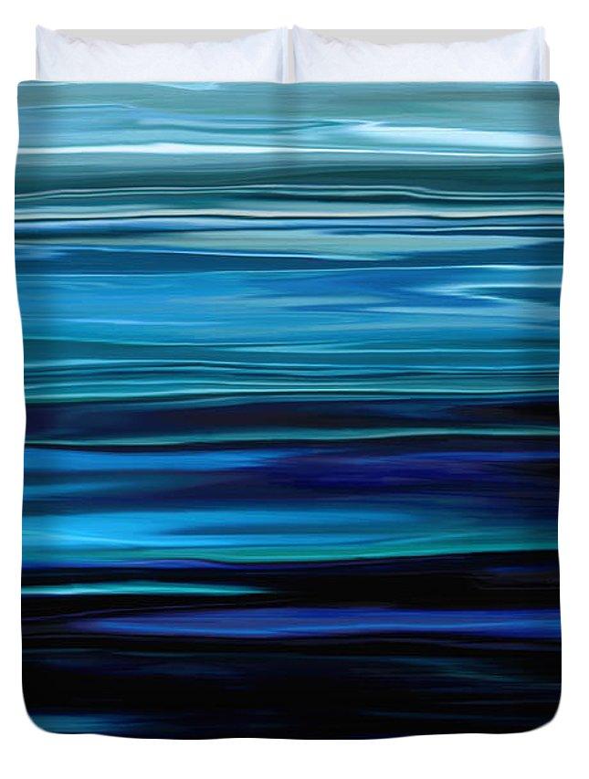 Emerald Duvet Cover featuring the digital art Blue Horrizon by Rabi Khan