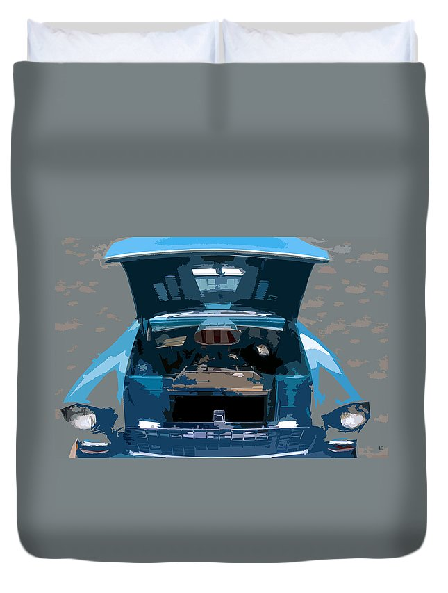 Hot Rod Duvet Cover featuring the painting Blue Hot Rod by David Lee Thompson