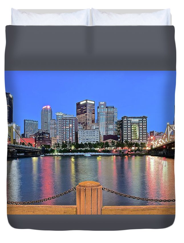 Pittsburgh Duvet Cover featuring the photograph Blue Hour In The Steel City by Frozen in Time Fine Art Photography