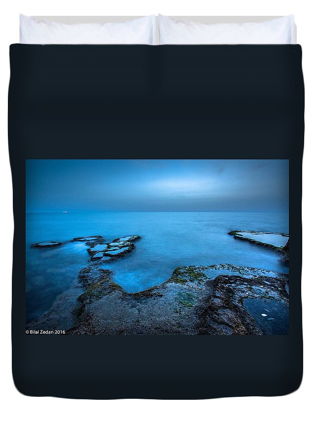 Blue Hour Sunset Sea Long Exposure Caesarea Duvet Cover featuring the pyrography Blue Hour Sunset by Bilal Zedan