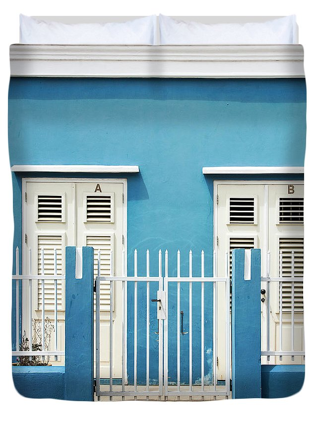 Blue Duvet Cover featuring the photograph Blue Curacao House by Zena Zero