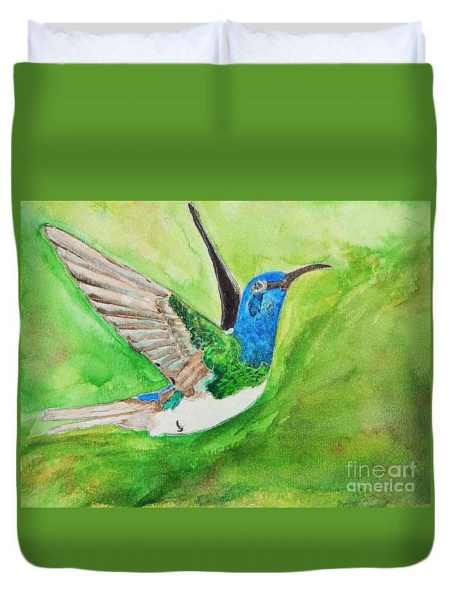 Humming Bird Duvet Cover featuring the painting Blue Humming Bird by Barbara King