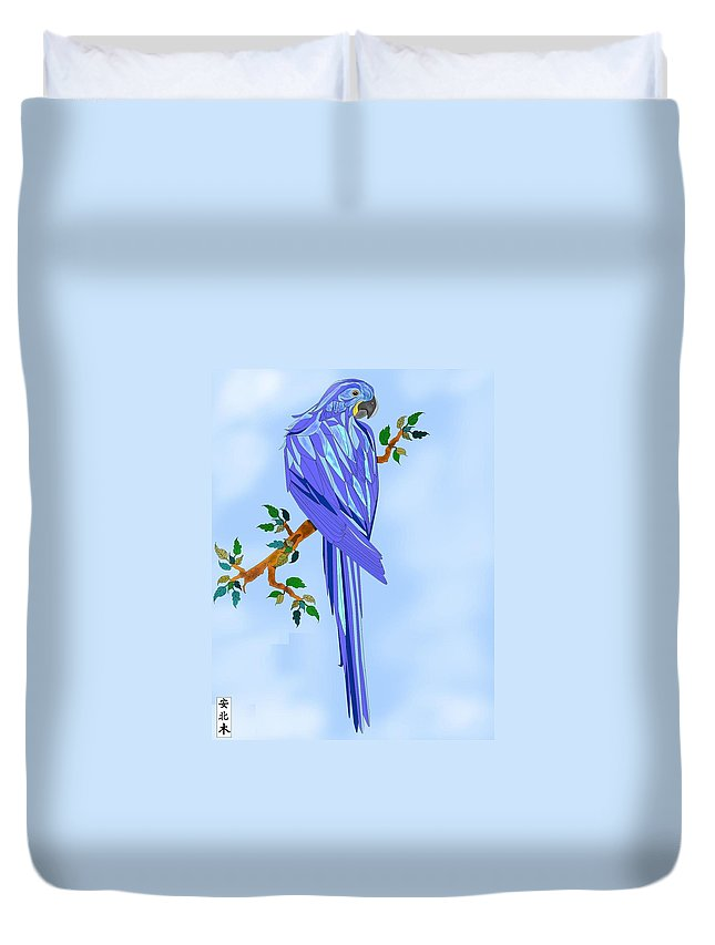 Blue Bird Duvet Cover featuring the painting Blue Hyacinth by Anne Norskog