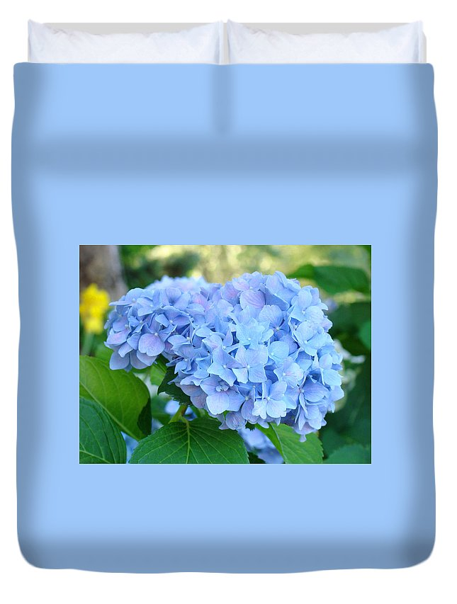 Hydrangea Duvet Cover featuring the photograph Blue Hydrangea Flowers Art Botanical Nature Garden Prints by Baslee Troutman