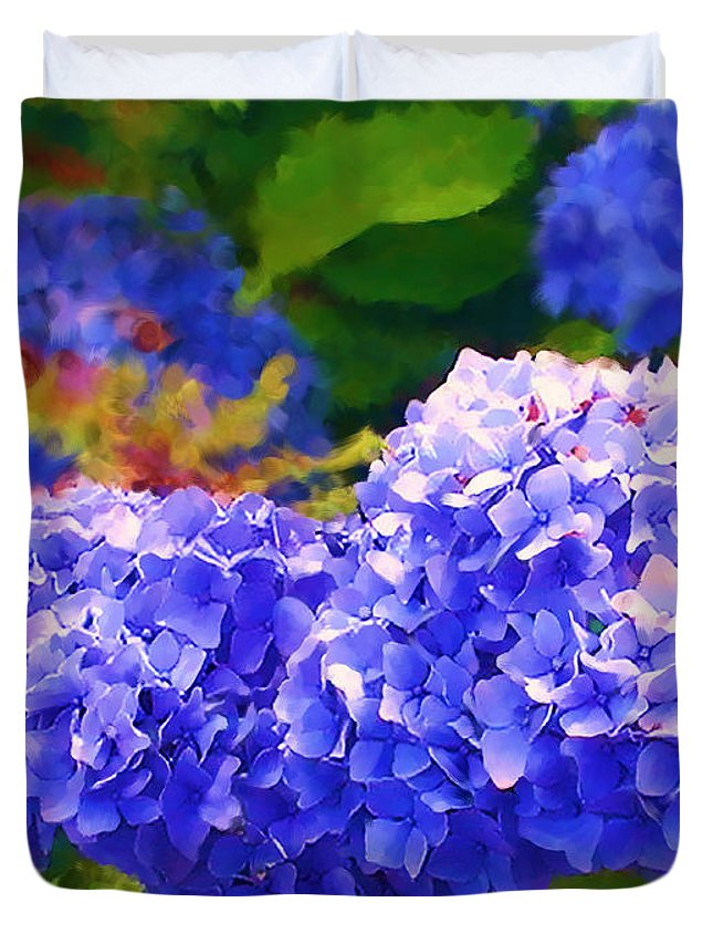 Blue Hydrangea Duvet Cover featuring the painting Blue Hydrangea by Methune Hively