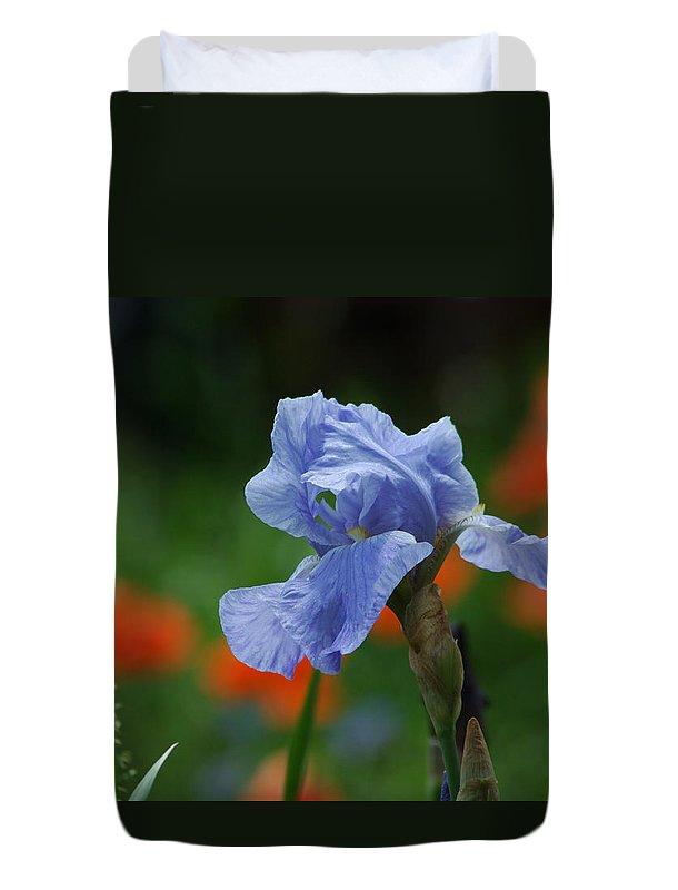 Iris Duvet Cover featuring the photograph Blue Iris by Linda Murphy