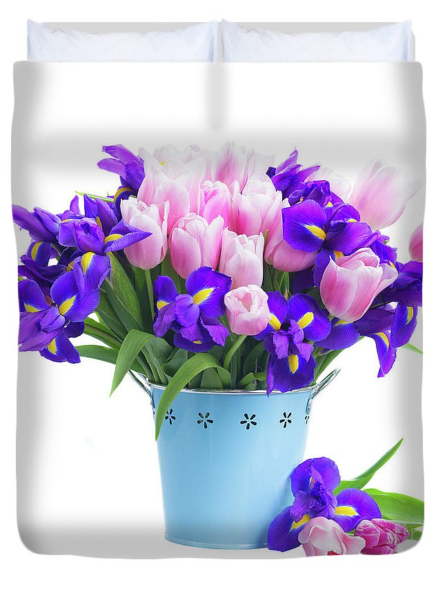Iris Duvet Cover featuring the photograph Blue And Pink by Anastasy Yarmolovich