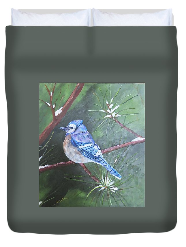 Birds Duvet Cover featuring the painting Blue Jay 2 by Sal Cutrara