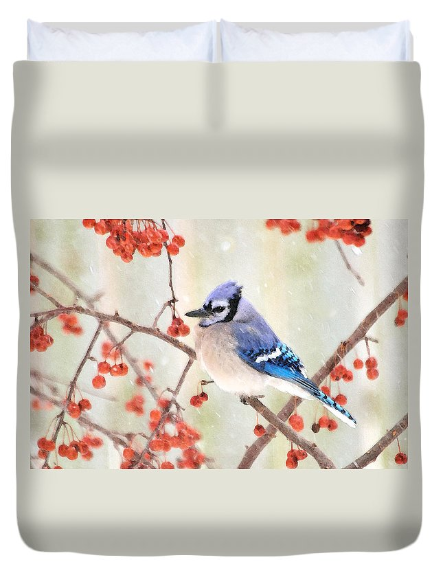 Blue Jay Photographs Duvet Cover featuring the photograph Blue Jay In Snowfall by Betty LaRue