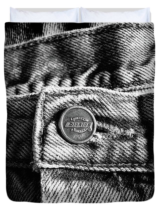 B&w Duvet Cover featuring the photograph Blue Jeans Button Macro Detail Bw by YoPedro