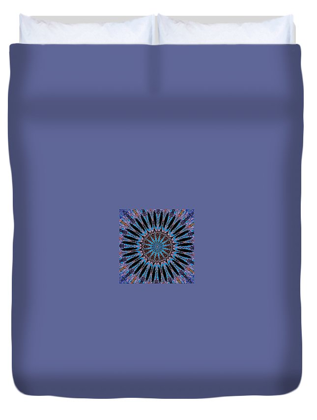 Duvet Cover featuring the digital art Blue Jewel Starlet by Donna Graves