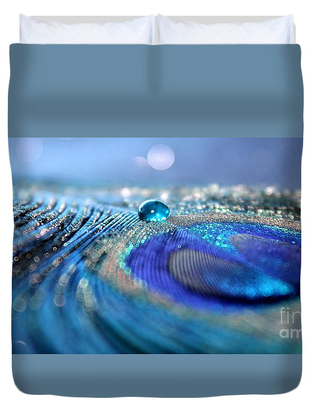 Peacock Feather Duvet Cover featuring the photograph Blue Karma by Krissy Katsimbras