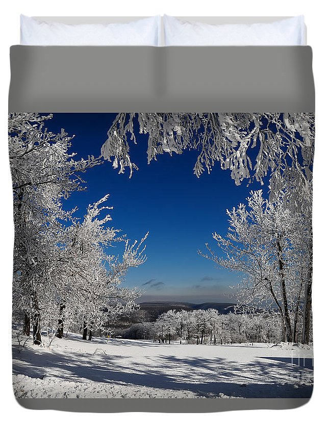 Mountains Duvet Cover featuring the photograph Blue Knob by Lois Bryan