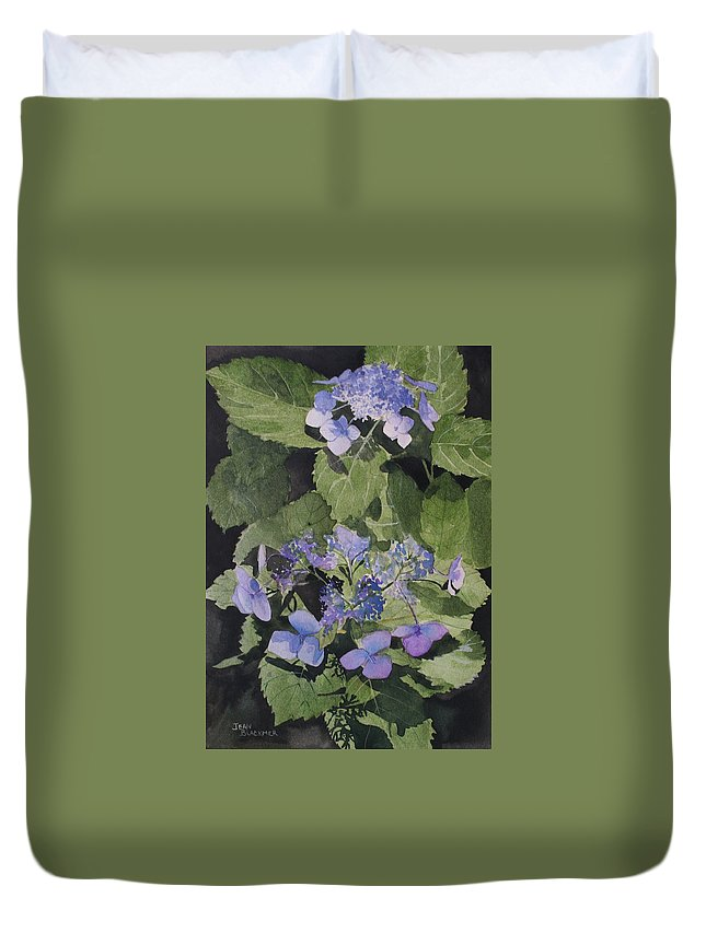 Flowers Duvet Cover featuring the painting Blue Lace by Jean Blackmer