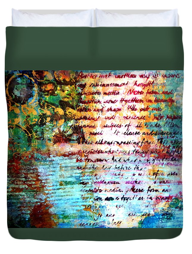 Landscape Fantasy Duvet Cover featuring the painting Blue Lagoon by Debra Teenier