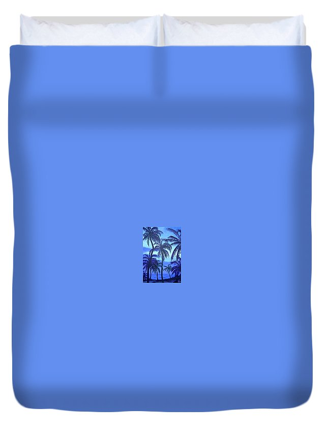 Belize Duvet Cover featuring the painting Blue Lagoon by Esther Gordon