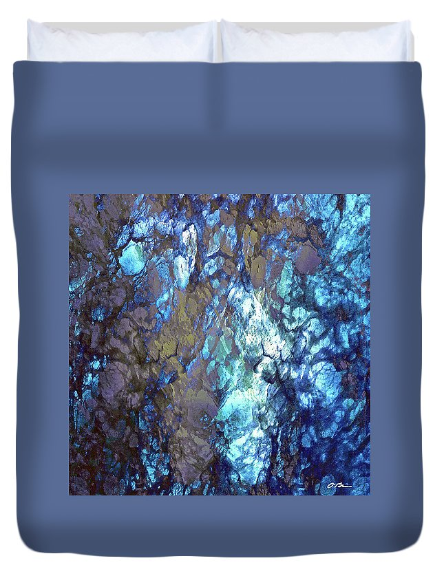 Abstract Duvet Cover featuring the digital art Blue Lightation by Claudia O'Brien