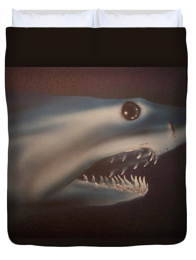 Airbrushed Duvet Cover featuring the painting Blue Lightning by Mike Moss