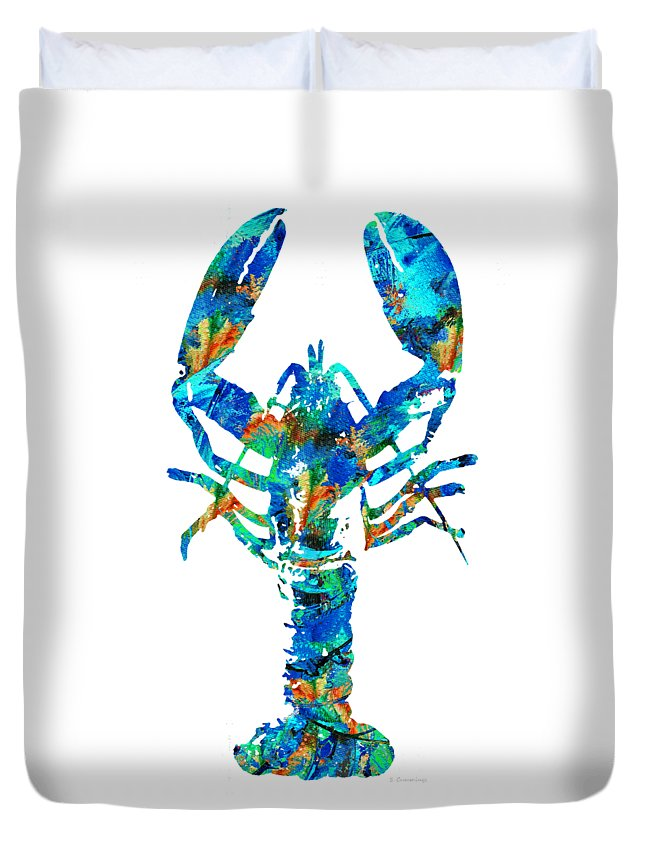 Lobster Duvet Cover featuring the painting Blue Lobster Art By Sharon Cummings by Sharon Cummings