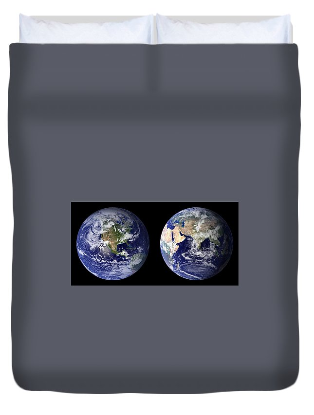 Earth Duvet Cover featuring the painting Blue Marble Composite Images Generated By Nasa by Celestial Images