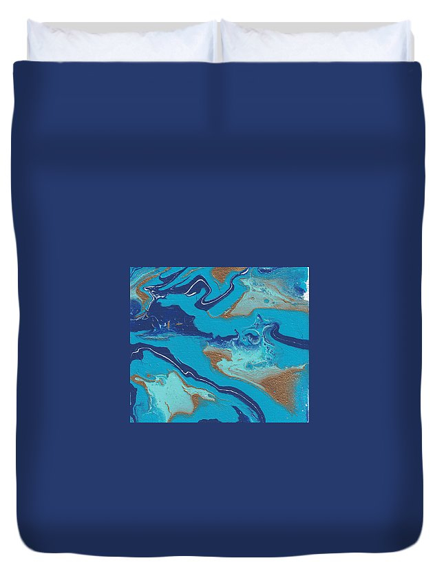 Blue Duvet Cover featuring the painting Blue Marble by Joy DeGroat