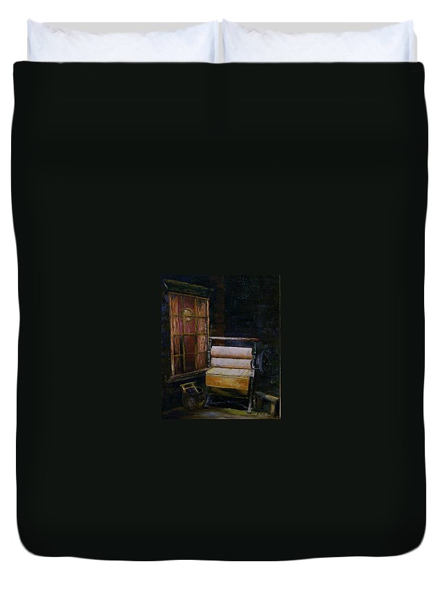 Still Life Duvet Cover featuring the painting Blue Monday by Stephen King