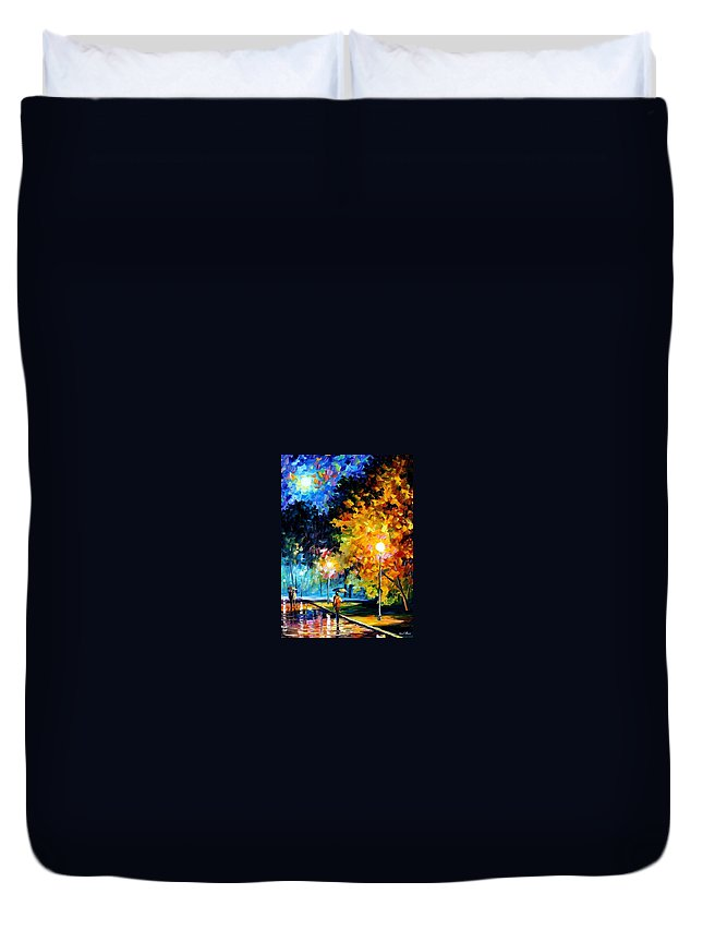Afremov Duvet Cover featuring the painting Blue Moon by Leonid Afremov