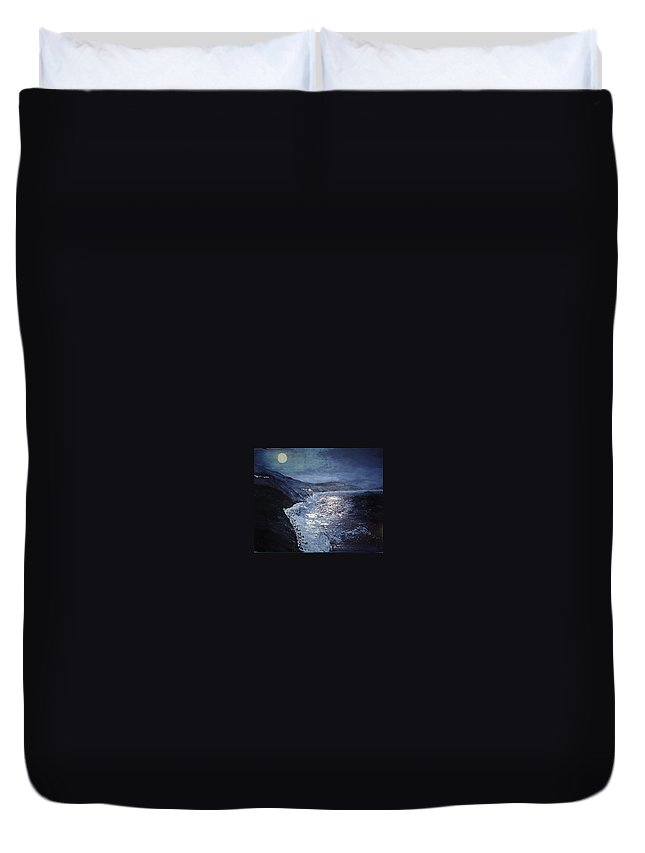 Pacific Highway Duvet Cover featuring the painting Blue Moon Over Big Sur by Claudia Lamprea