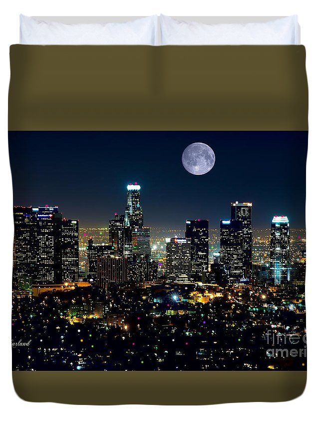 L.a. City Duvet Cover featuring the mixed media Blue Moon Over L.a. by Garland Johnson