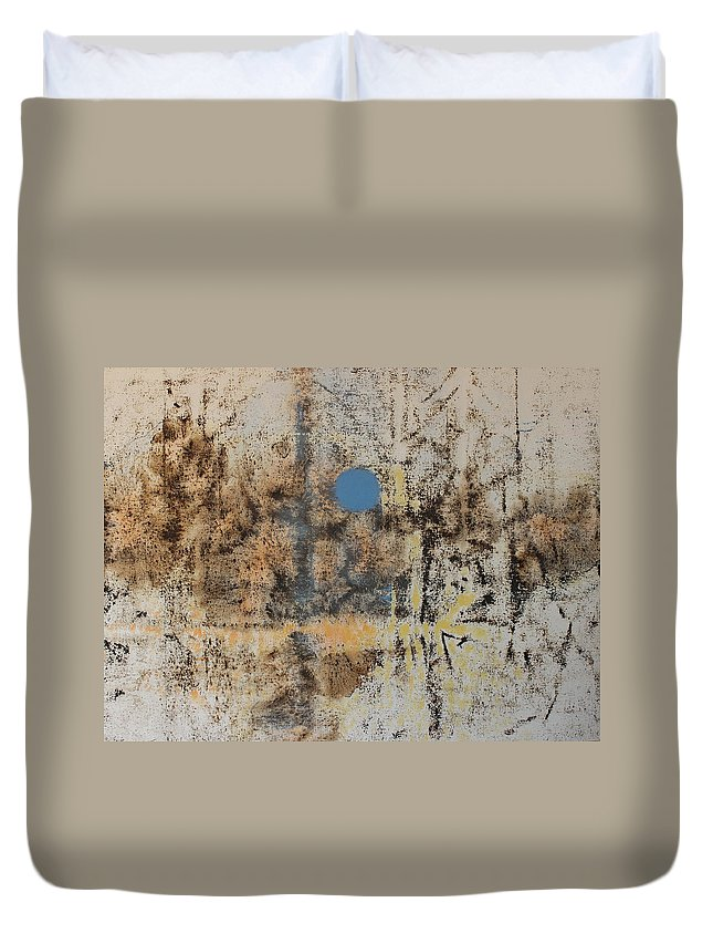 Landscape Duvet Cover featuring the painting Blue Moon by Tom Brooks