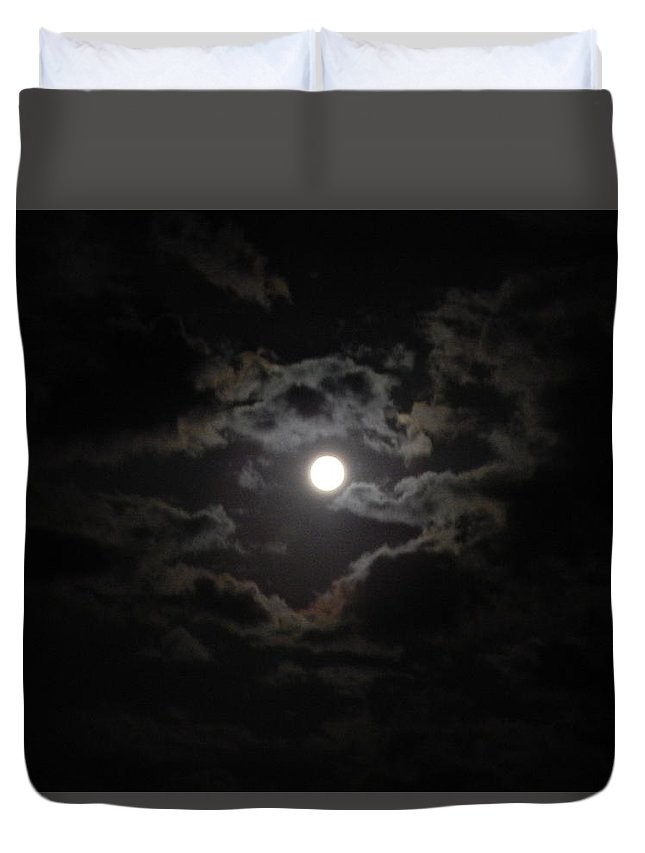 July Duvet Cover featuring the photograph Blue Moon by Virginia Kay White