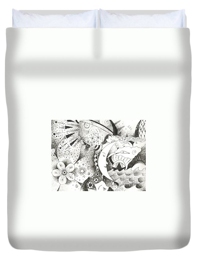 Surreal Duvet Cover featuring the drawing Blue Moons And Tidbits by Helena Tiainen