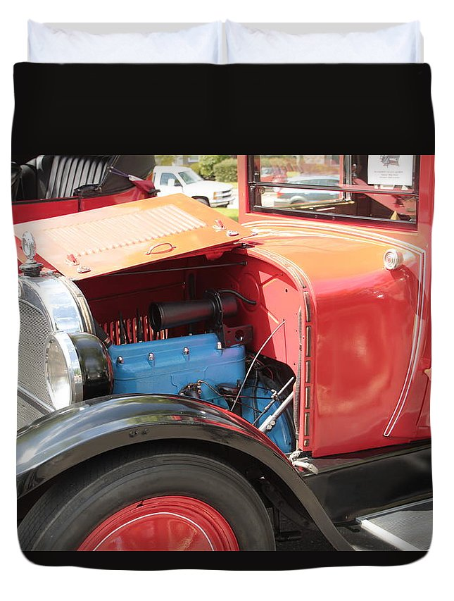 Antique Duvet Cover featuring the photograph Blue Motor by Pauline Darrow