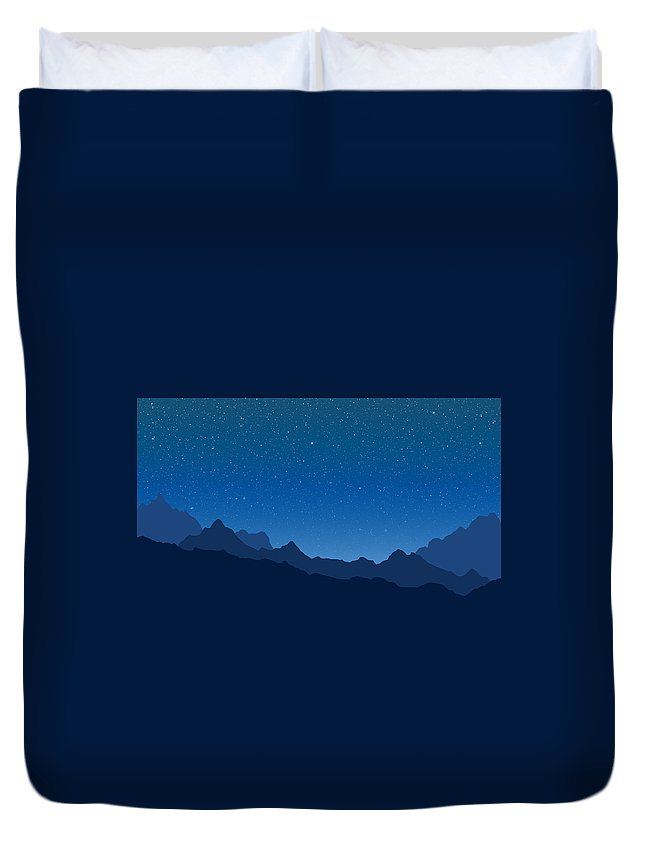 Mountains Duvet Cover featuring the digital art Blue Mountains by Alexander Owen