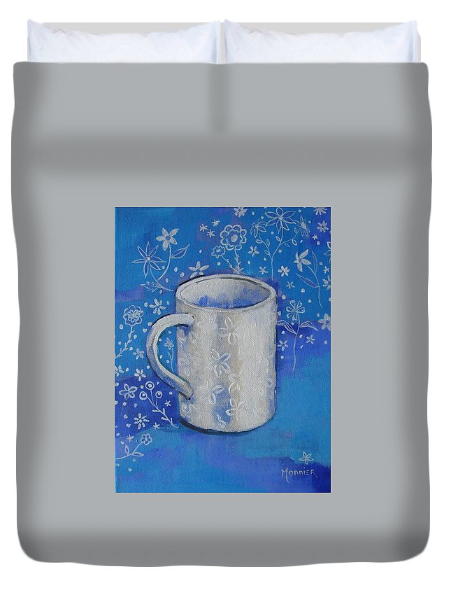 Mug Duvet Cover featuring the painting Blue Mug With Flowers by Cathy MONNIER